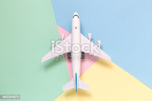 istock Model aircraft plane high angle view minimal concept 940254670