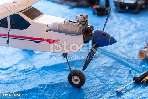 Model airplane on garage