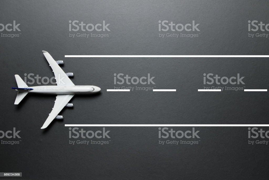 Model airplane on runway stock photo