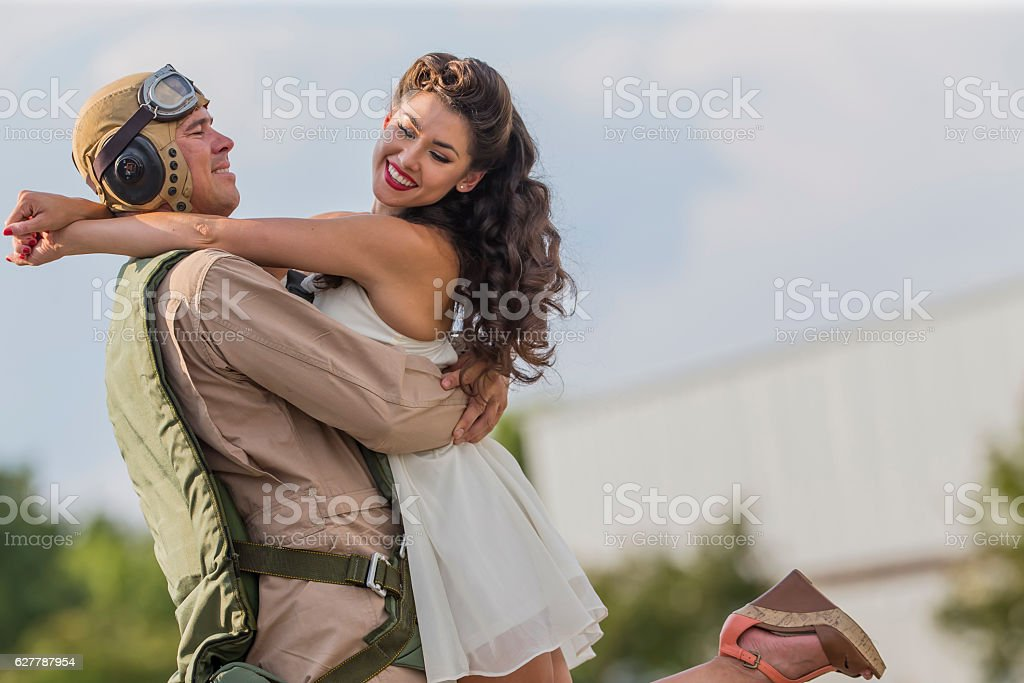 WWII Model and Airplane stock photo