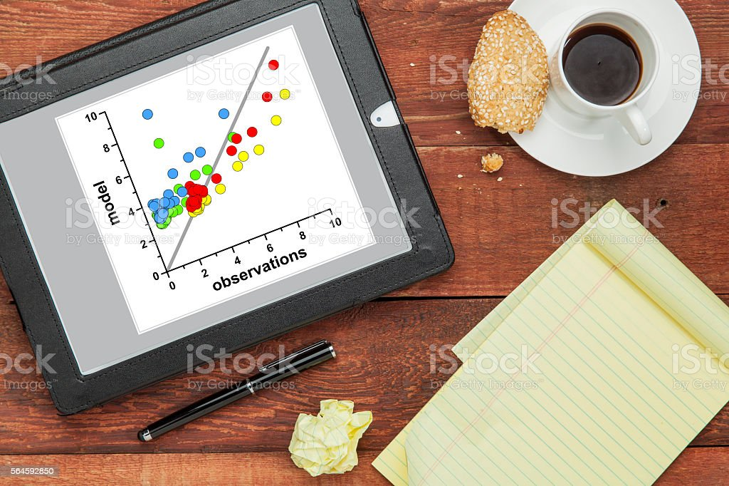 model and observation data concept stock photo