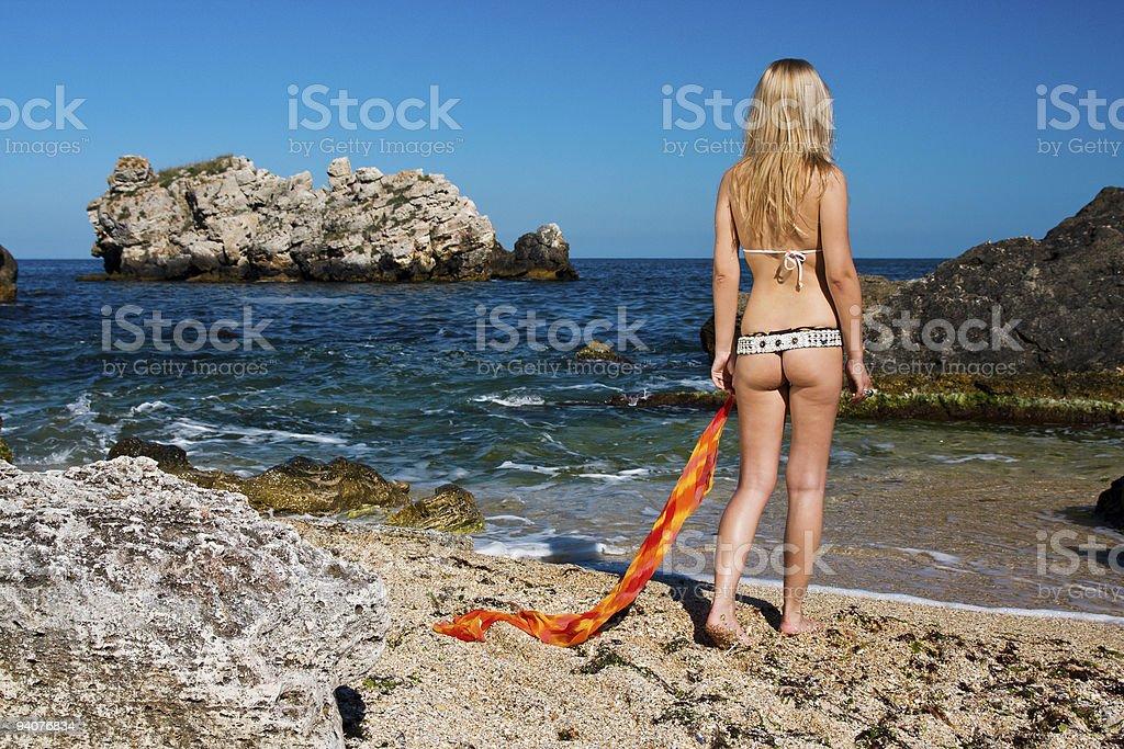Model at the resort beach royalty-free stock photo