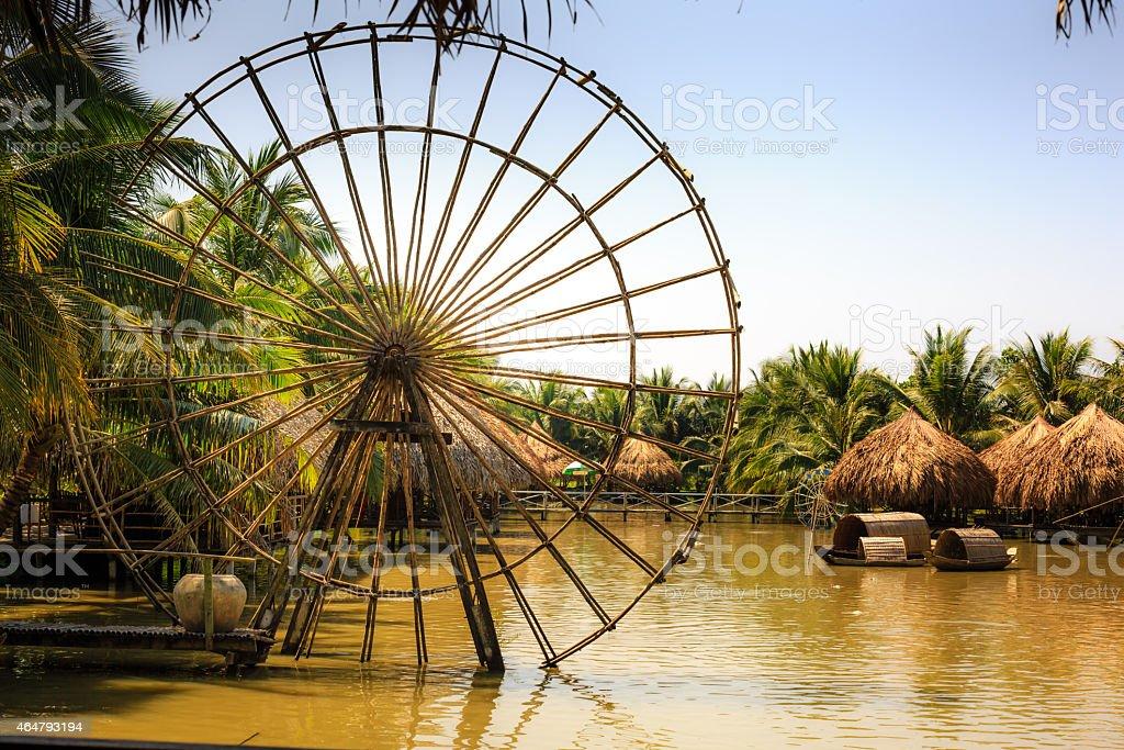 Model bamboo water wheel stock photo