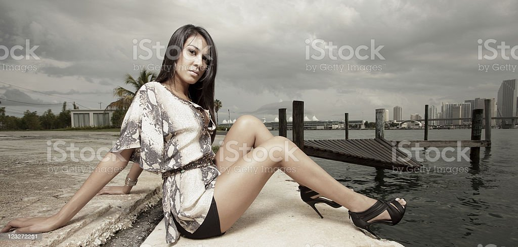 Model by the bay royalty-free stock photo