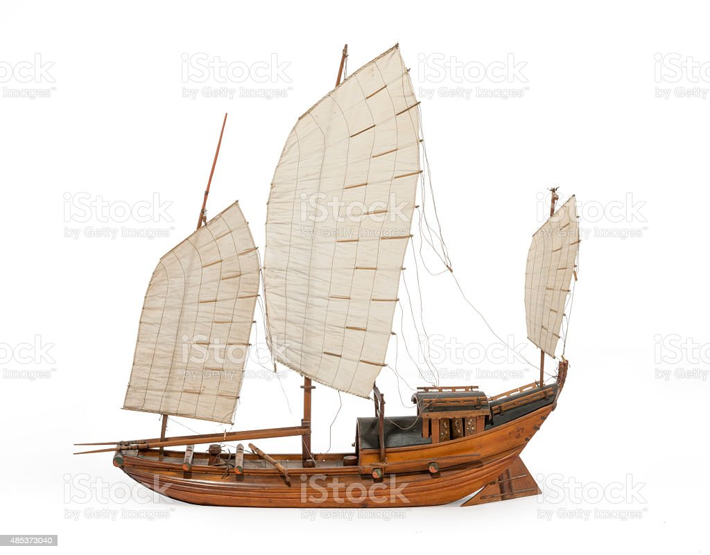 Model Chinese or Indian junk boat isolated on white stock photo