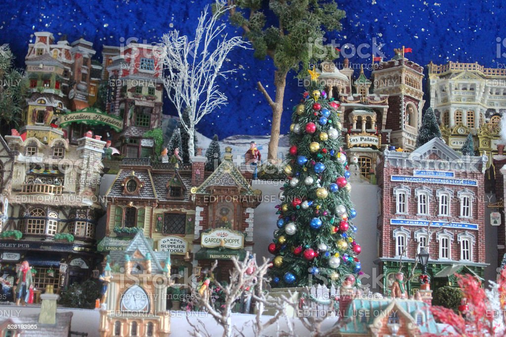 model christmas village with miniature houses people winter scene lights christmas - Lights For Christmas Village