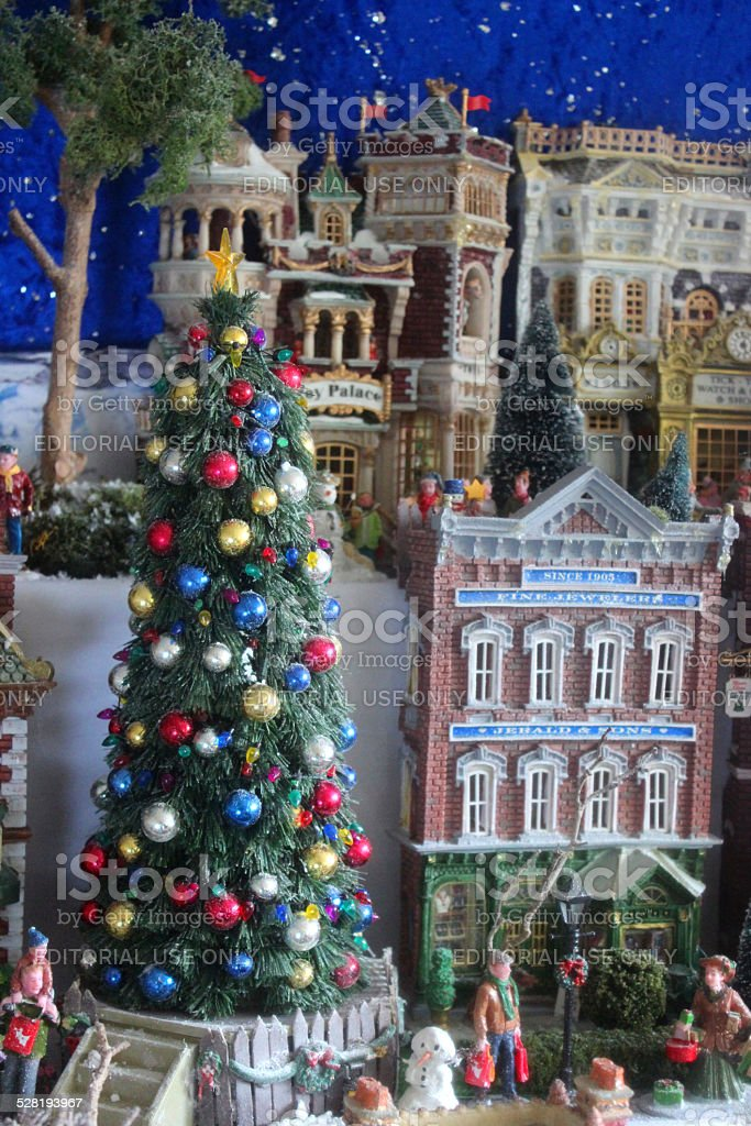 Model Christmas Village With Miniature Houses People Winterscene