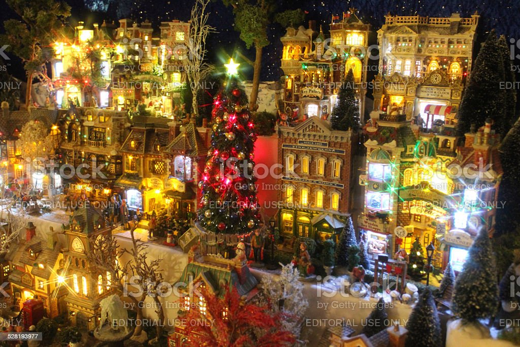 model christmas village with miniature houses people winter scene night time - Miniature Christmas Town Decorations