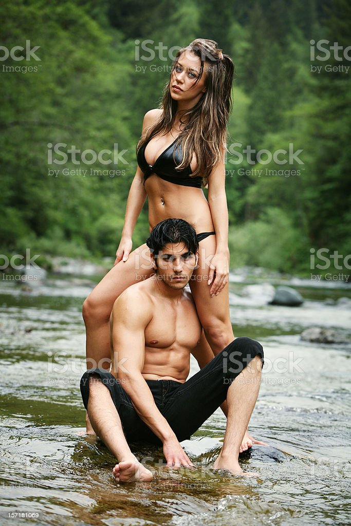 Model Couple in River Portrait royalty-free stock photo