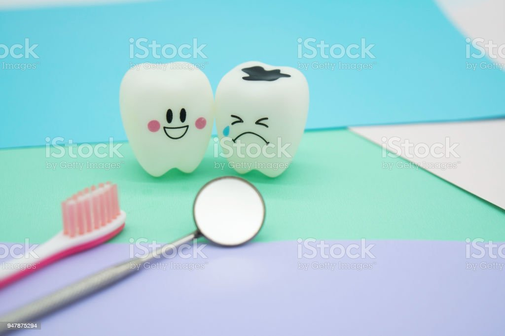 Model Cute toys teeth in dentistry on colorful pastel paper for background stock photo