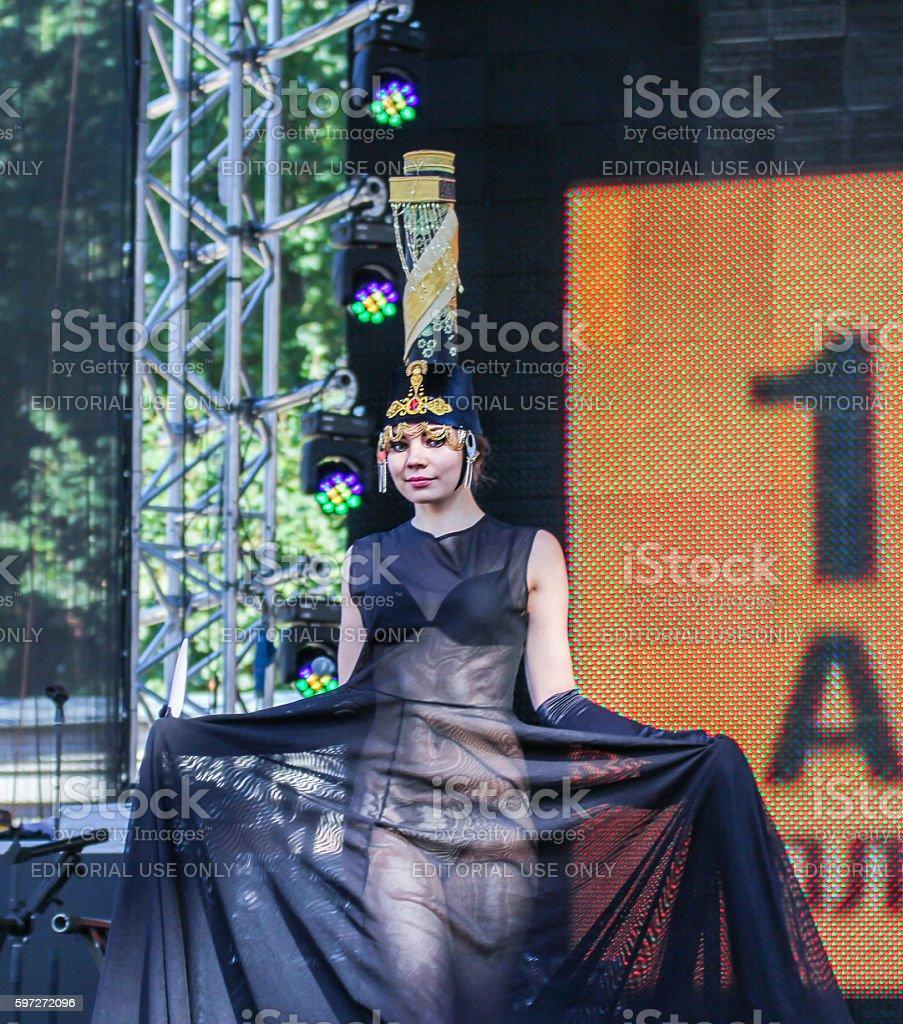 Model, display a semi-transparent dress. Lizenzfreies stock-foto