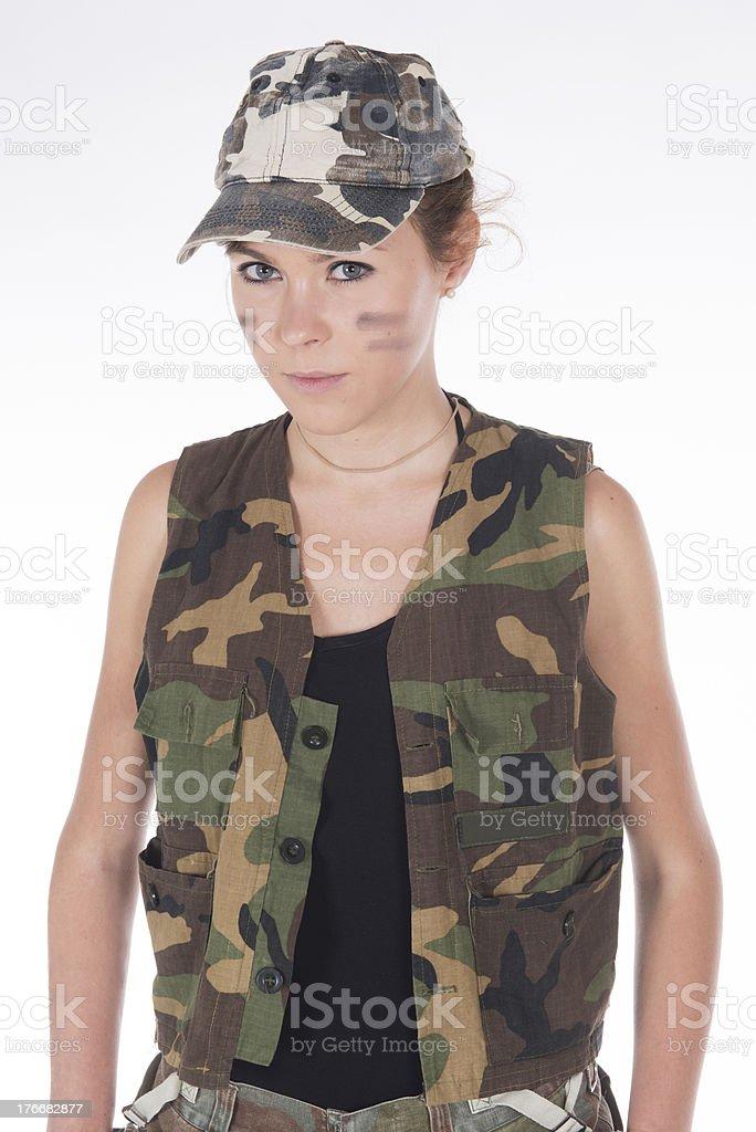 Modelo vestido como un ejército mercantiles foto de stock libre de derechos