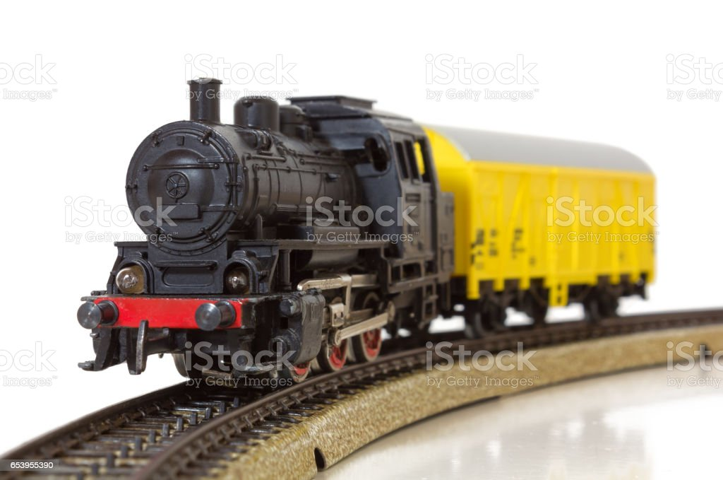 Model Electric Freight Train on the Rails stock photo