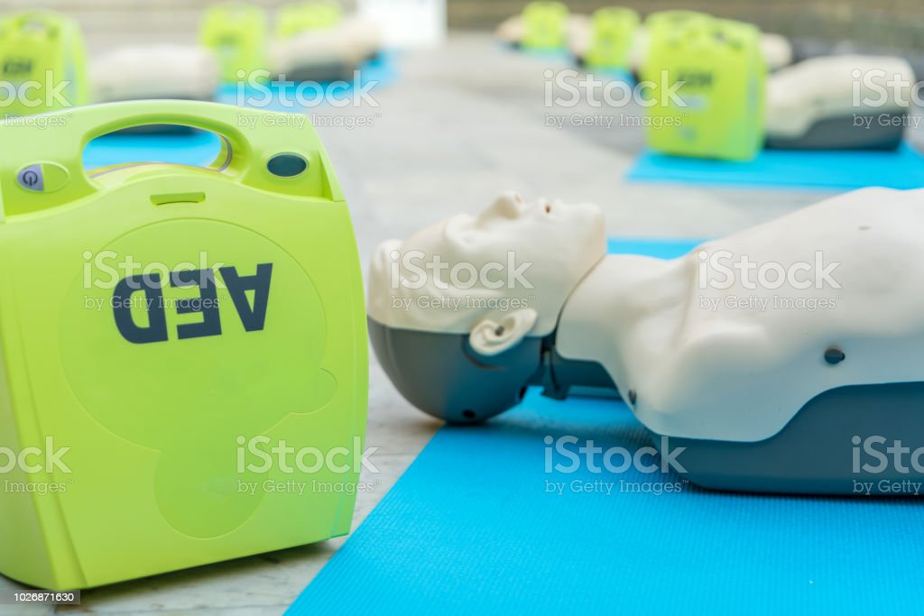 model for cpr and AED training (automated external defibrillator) stock photo