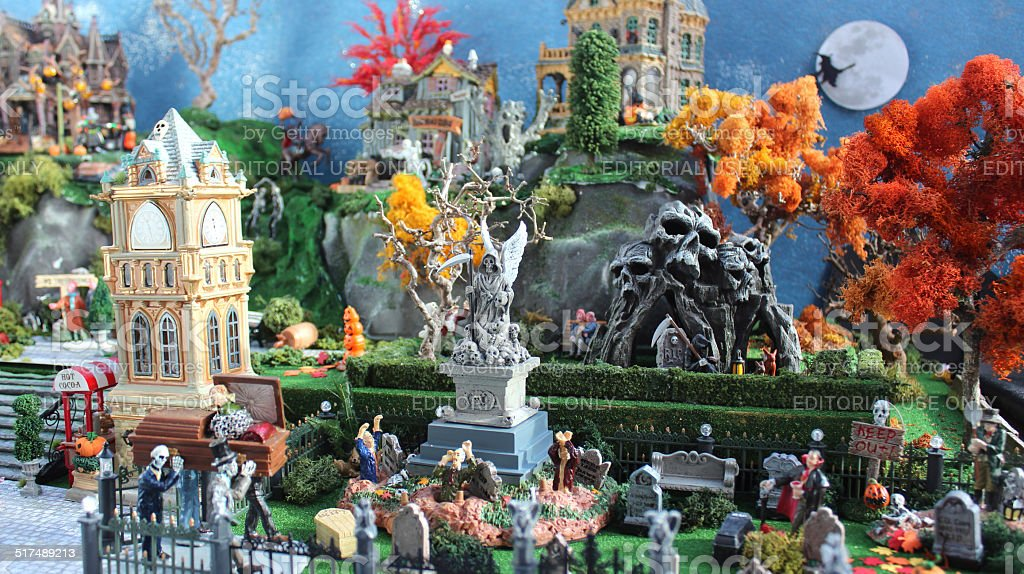 Model Halloween spooky town / village, miniature houses, graveyard-cemetery / witch stock photo