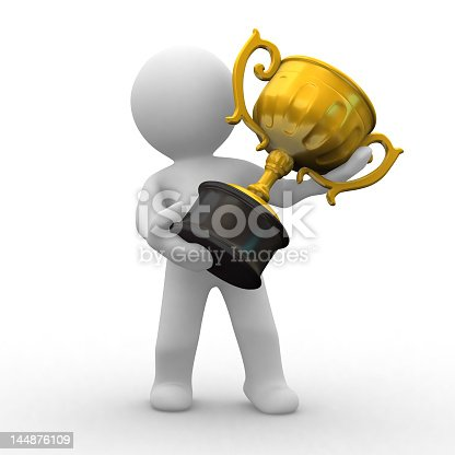 istock A 3D model holding a gold trophy 144876109