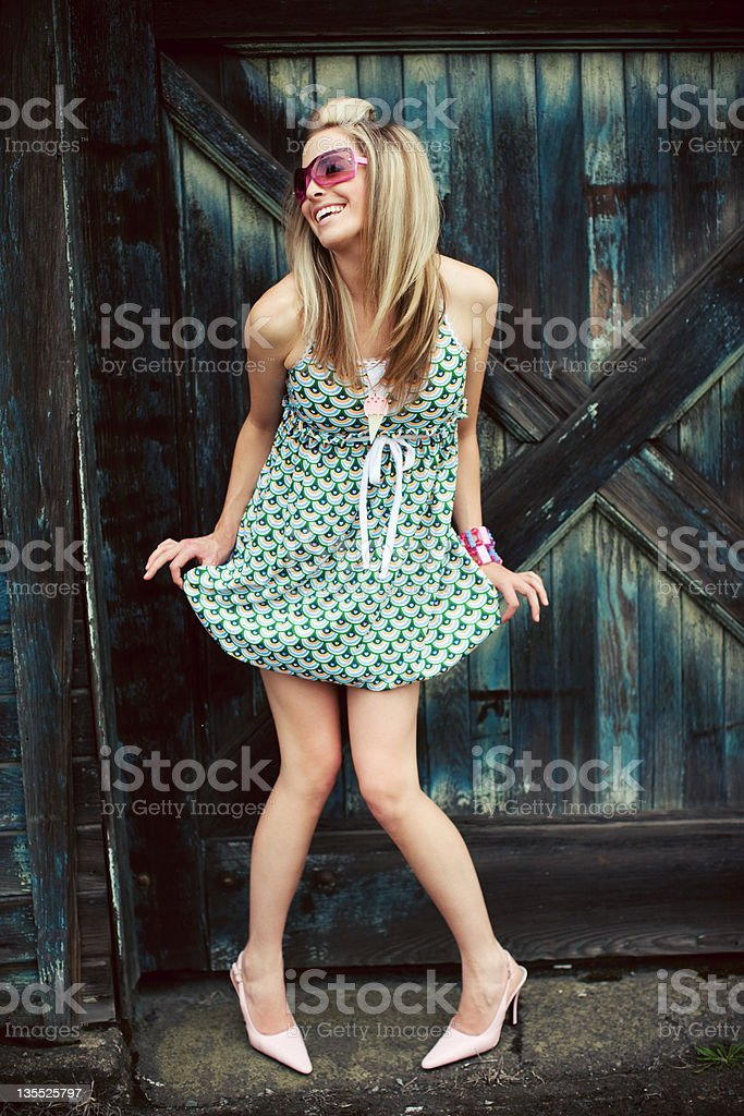 model holding her dress royalty-free stock photo