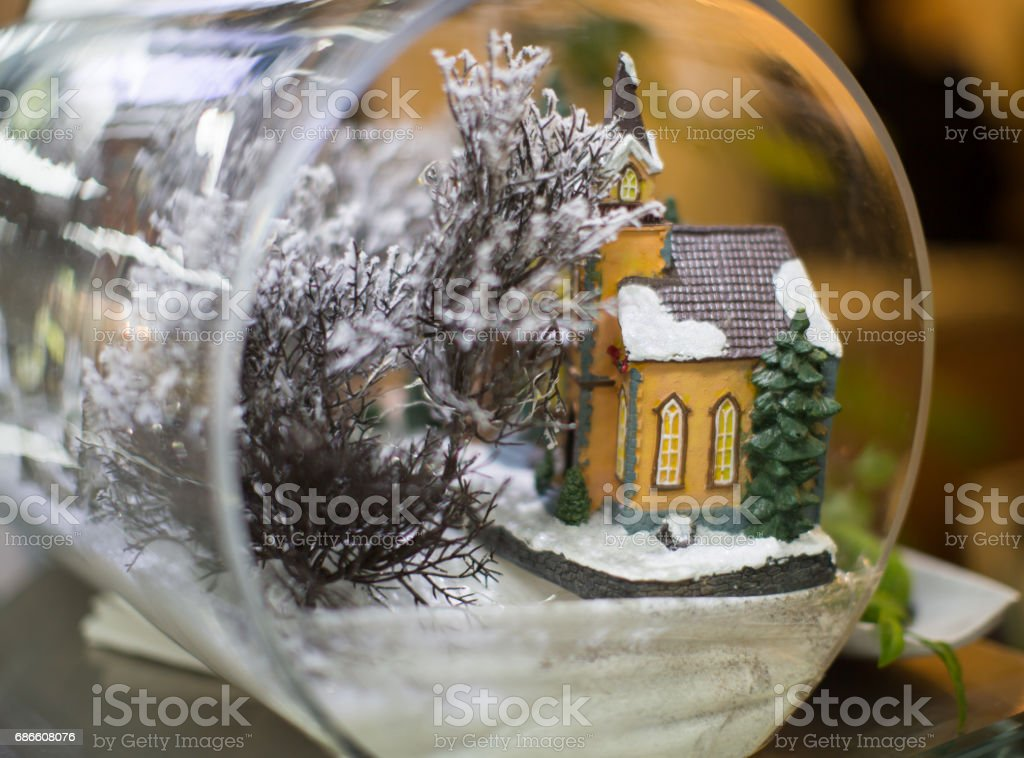 Model Home Next to Tree in a Tube. Real Estate. Housing. royalty-free stock photo