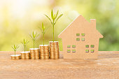 istock Model house and coin stack with growing plant on green tree background mortgage saving concept 1029870078