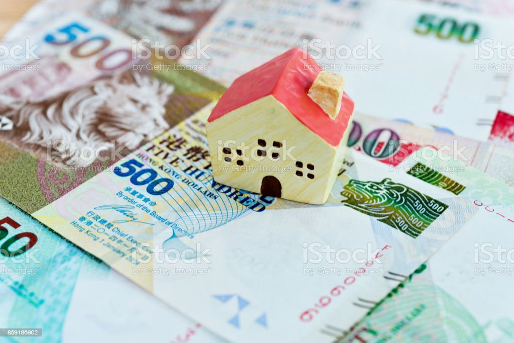 Model house is on the Hong Kong currency stock photo
