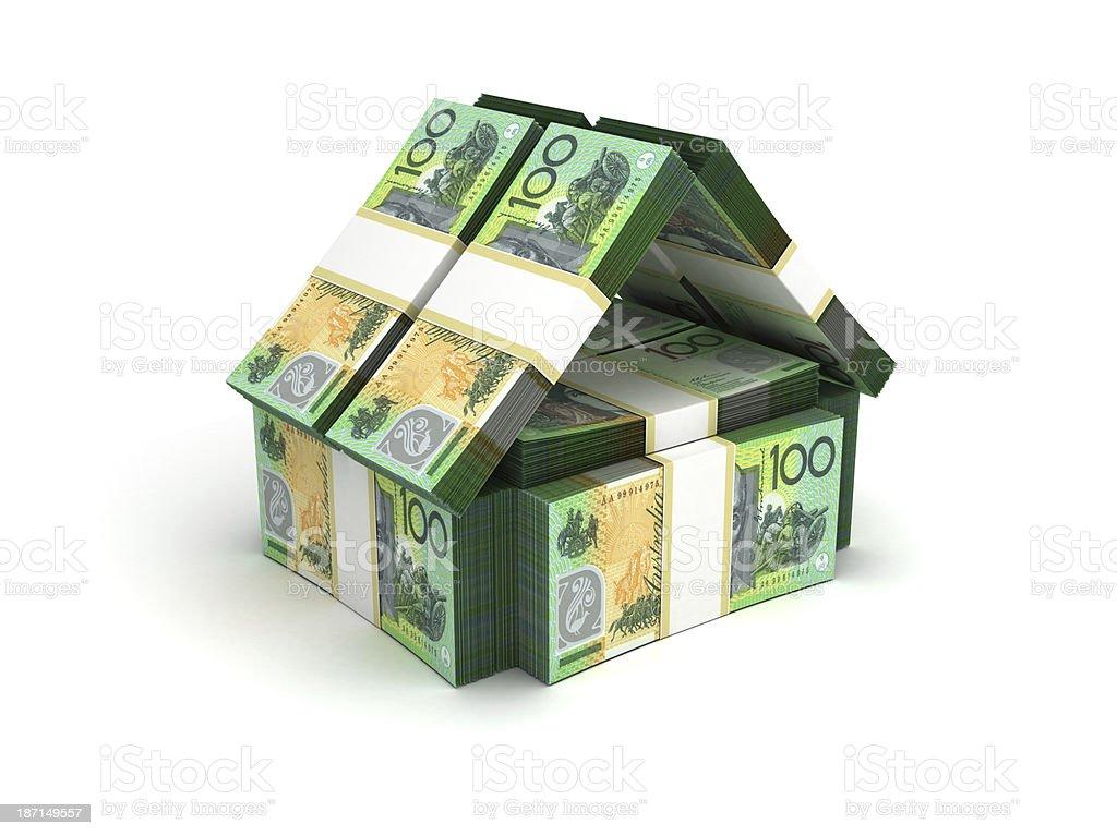Model house made from stacks of Australian money stock photo