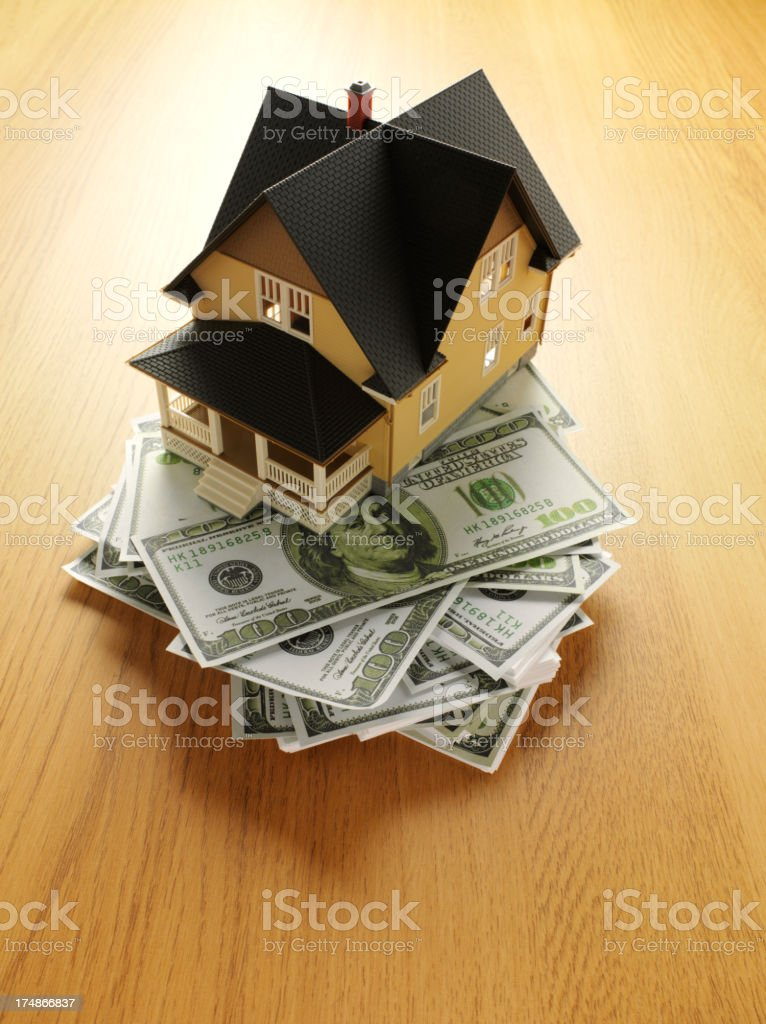 Model House on 100 American Dollar Banknote royalty-free stock photo