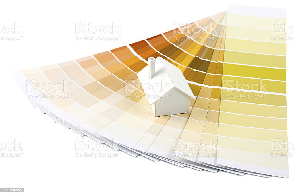 Model house on color palette royalty-free stock photo