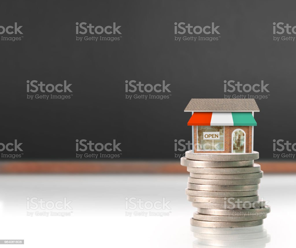 Model house wood form of  diagram - Royalty-free Coin Stock Photo