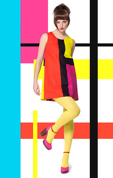 model in bright retro colors - 1960s style stock photos and pictures