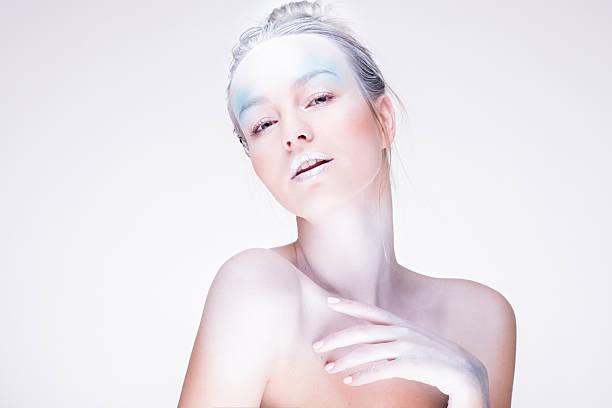 model in creative image with silver blue artistic make-up - portraite woman foto e immagini stock