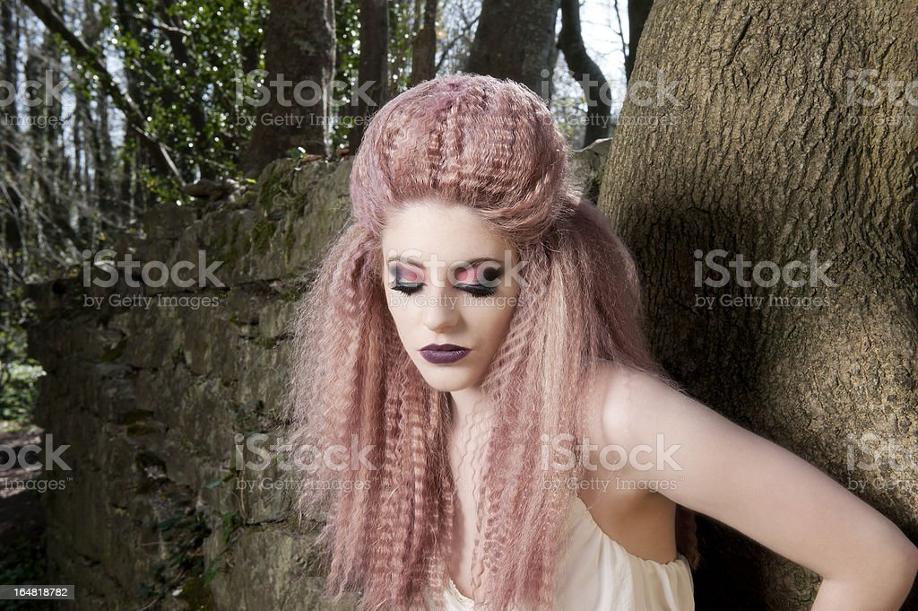 Model in Forest stock photo