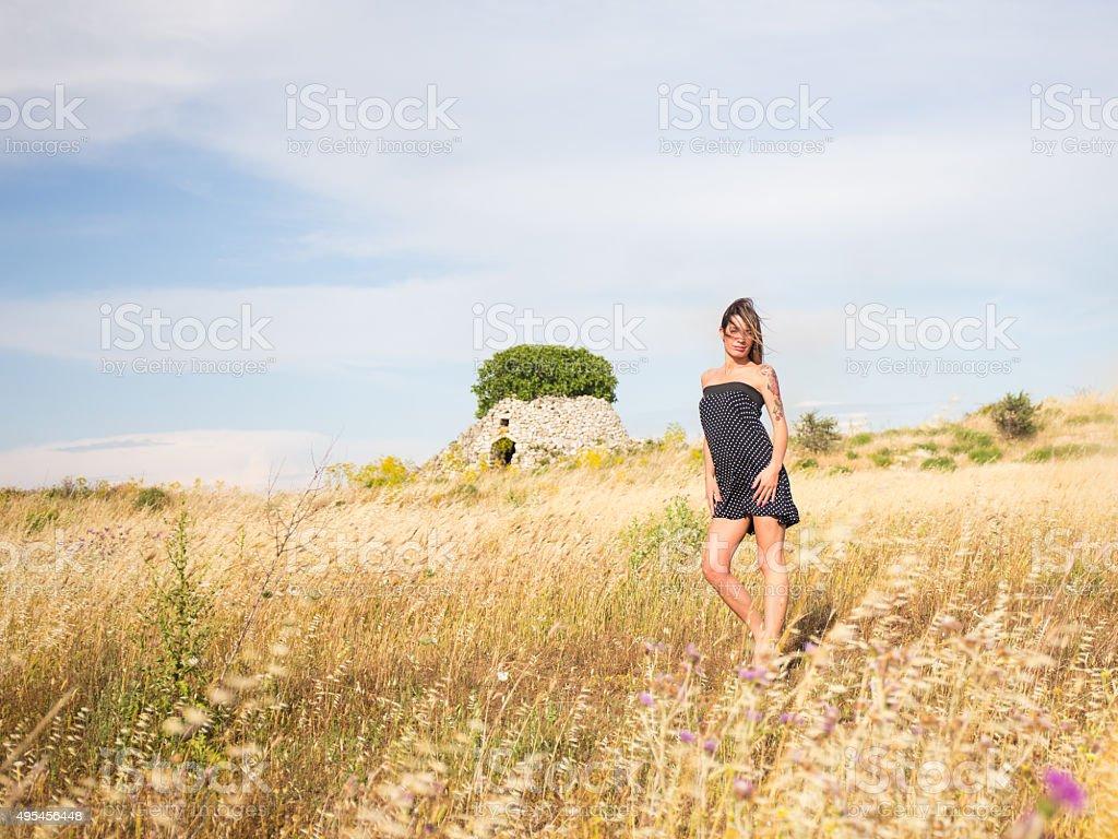 Model in the italian countryside stock photo