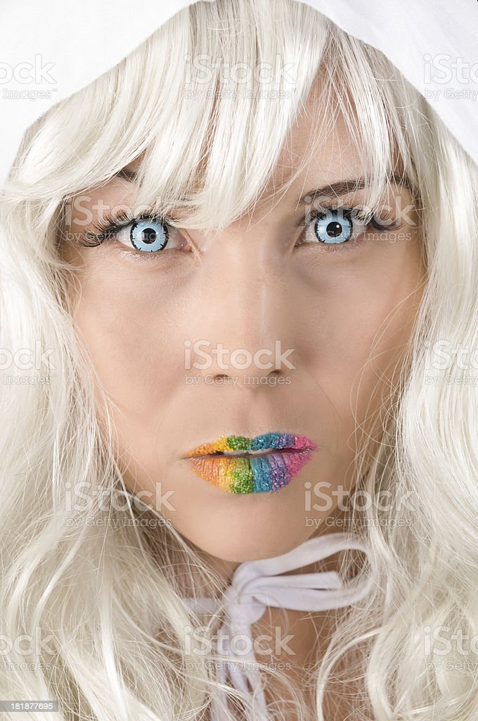 596022f4 Model in white wig and colourful lips with blue contacts. royalty-free stock  photo
