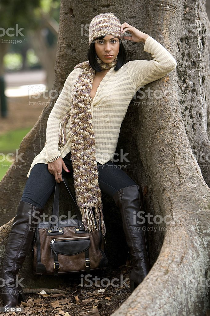 Model in Winter fashions royalty-free stock photo