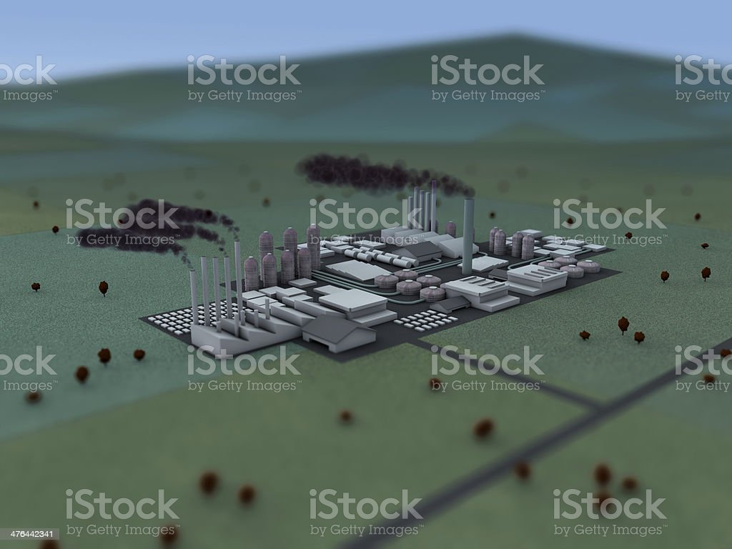 3D model industrial landscape with shallow depth of field. royalty-free stock photo