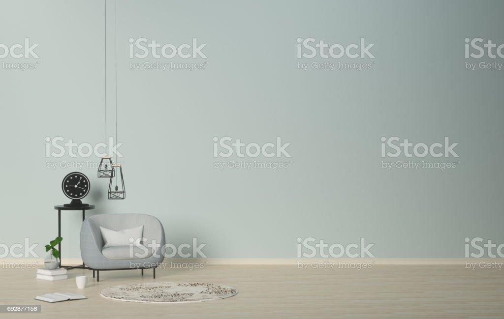 Modellwohnzimmer Wohnzimmer Im Büro Uhr Auf Dem Tisch ...