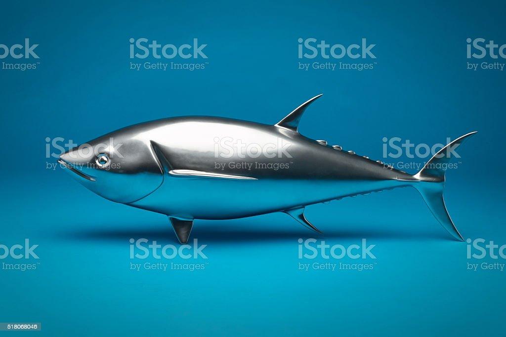 Model marine fish from metal. stock photo