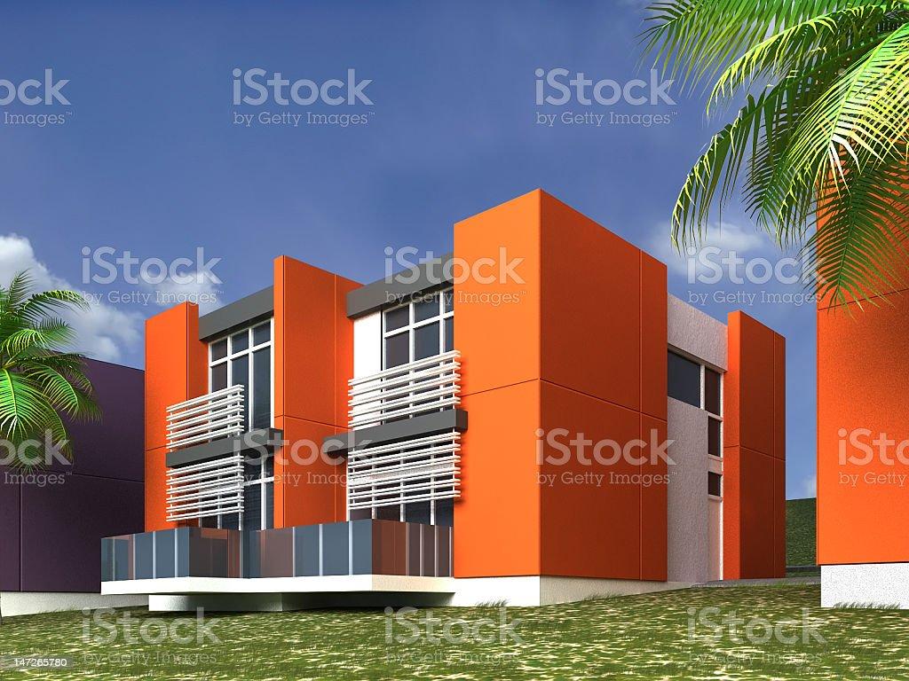 3D model modern orange houses stock photo