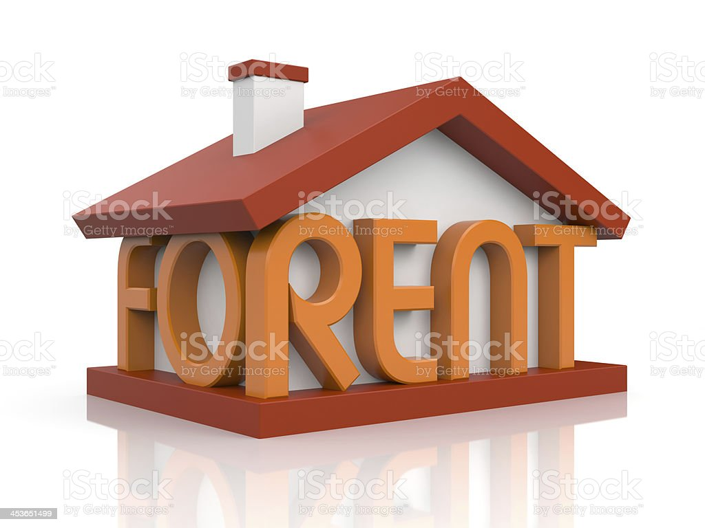 Model of a house with for rent written stock photo