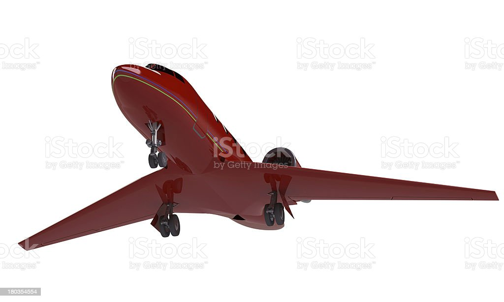 model of a red airplane isolated on white royalty-free stock photo