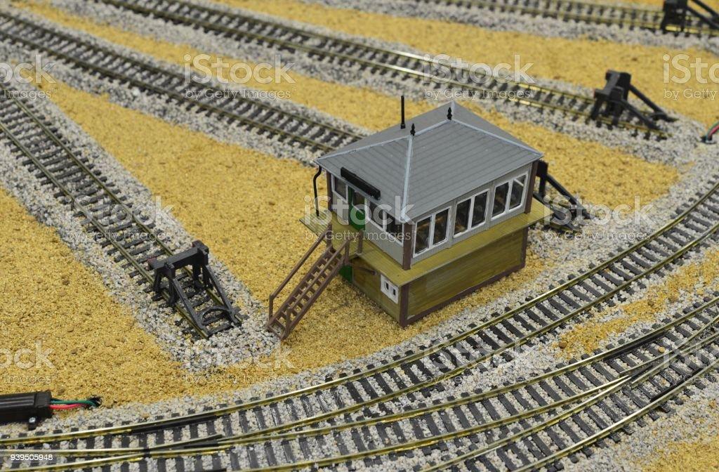 Model of a signal box on a desert landscape railway stock photo