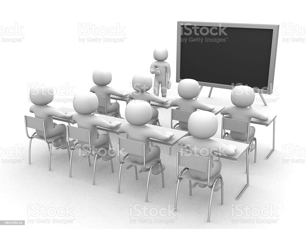 3D model of a teacher, his students and a blackboard stock photo