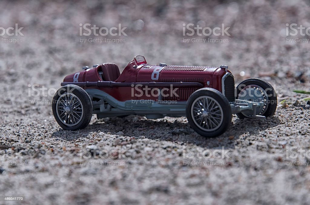 Model of a vintage car in the sun stock photo