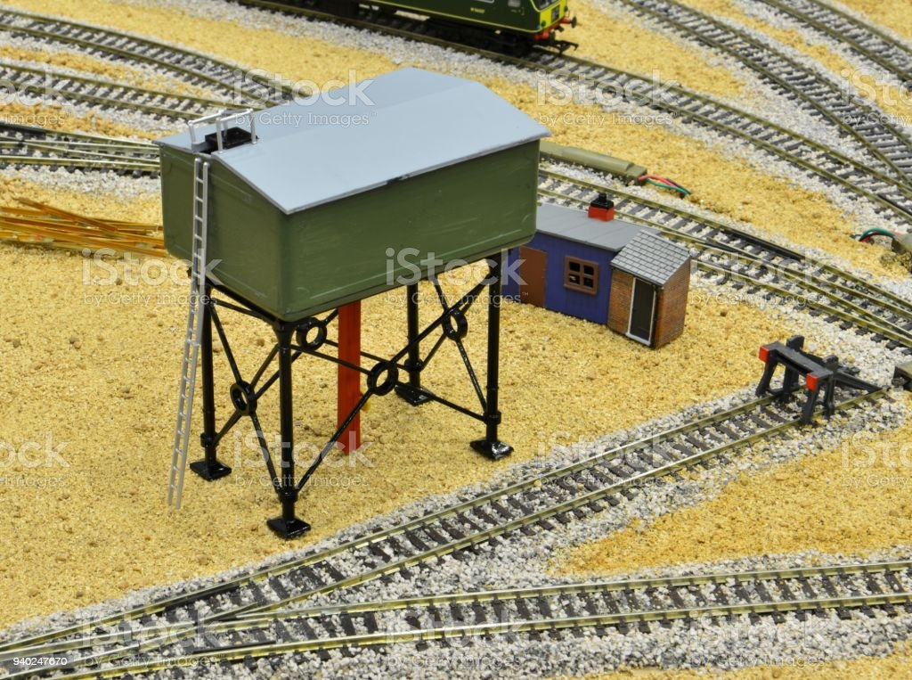 model of a water tower on a model railway stock photo