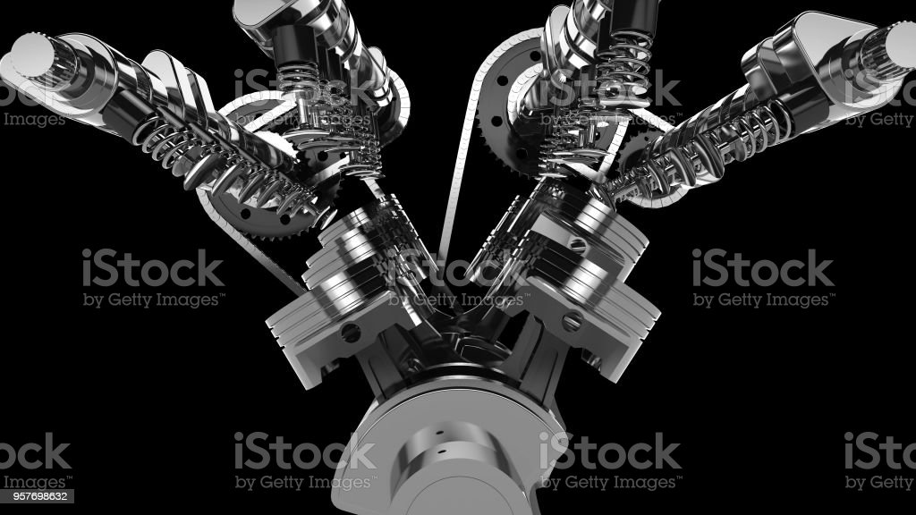 3D model of a working V8 engine. stock photo