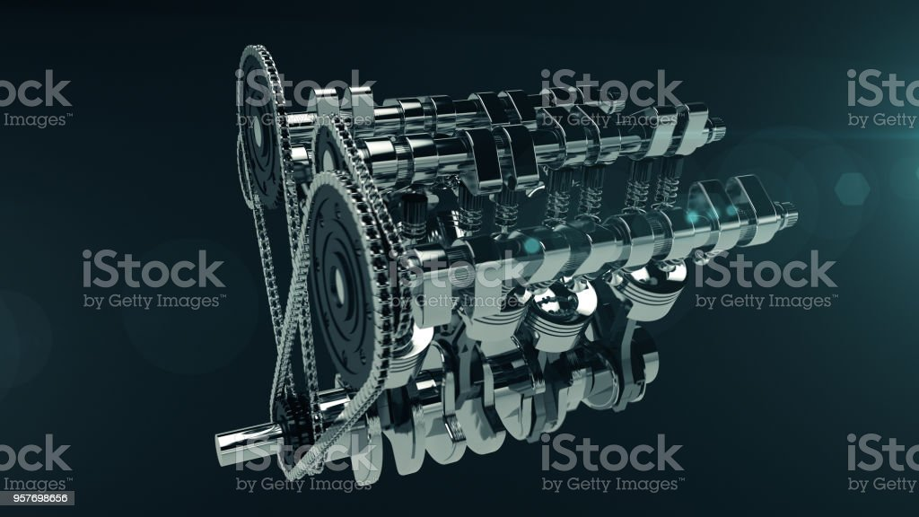 3D model of a working V8 engine with lens flare. stock photo