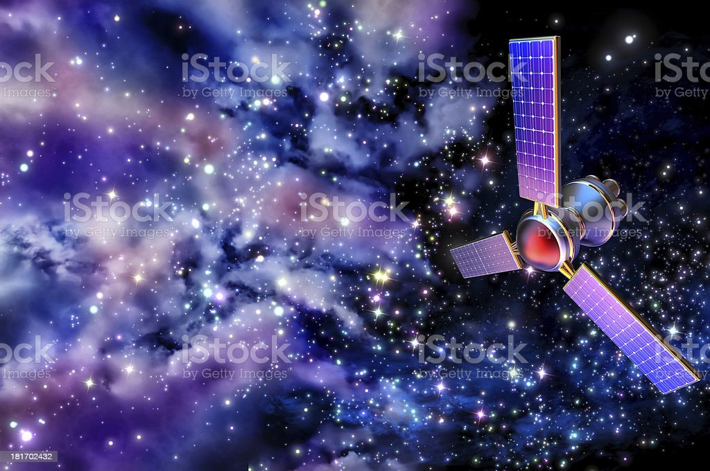 3D model of an artificial Earth satellite stock photo