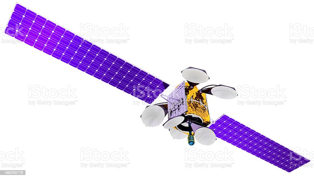 3D model of an artificial satellite of the Earth stock photo