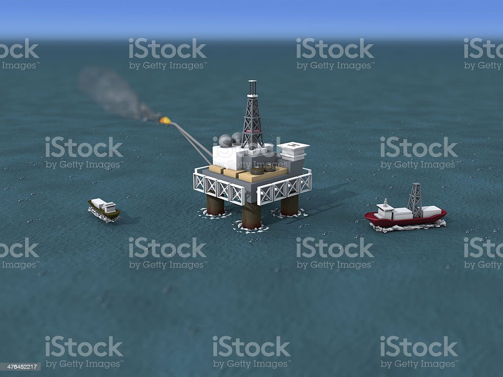 3D model of an offshore drilling rig and ships. royalty-free stock photo