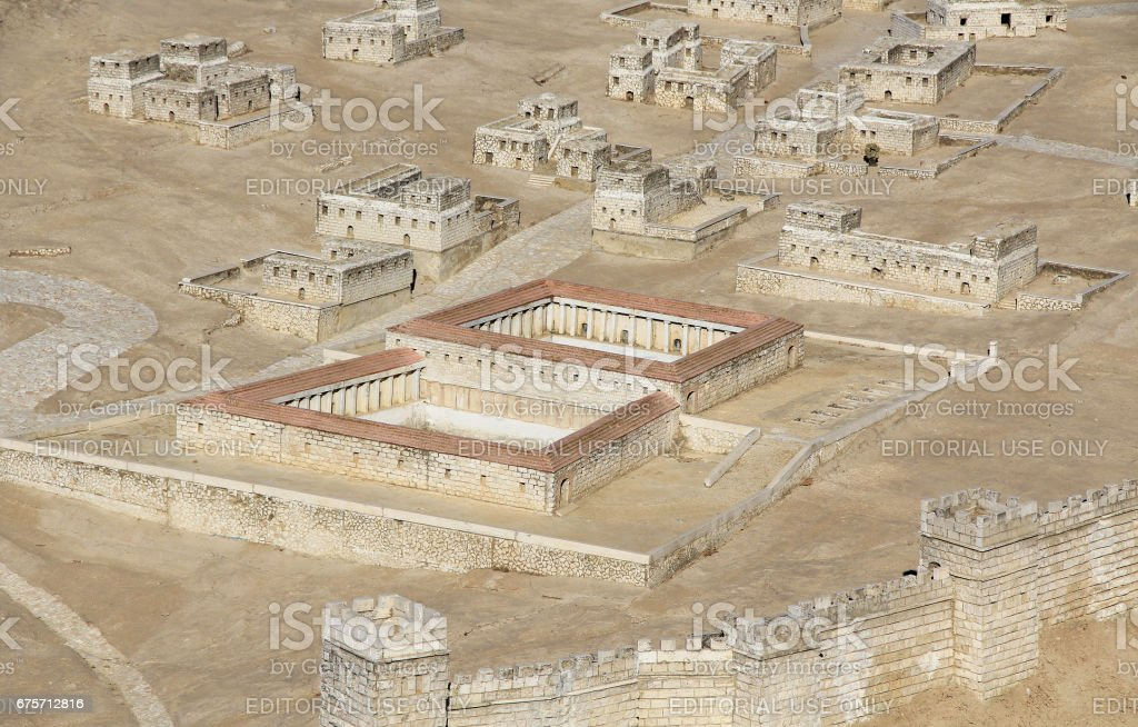 Model of Ancient Jerusalem Focusing on the Pool of Bethesda 免版稅 stock photo